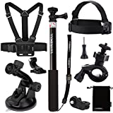 Luxebell 7-in-1 Accessories Kit for Sony Action Camera Hdr-as15 As20 As30v As50 As100v As200v Hdr-az1 Mini Sony Fdr-x1000v, Selfie Stick / Chest Mount Harness / Suction Cup Mount / Head Mount