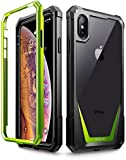iPhone Xs Max Case, Poetic Guardian [Scratch Resistant Back] Full-Body Rugged Clear Hybrid Bumper Case with Built-in-Screen Protector for Apple iPhone Xs Max 6.5' OLED Display - Green