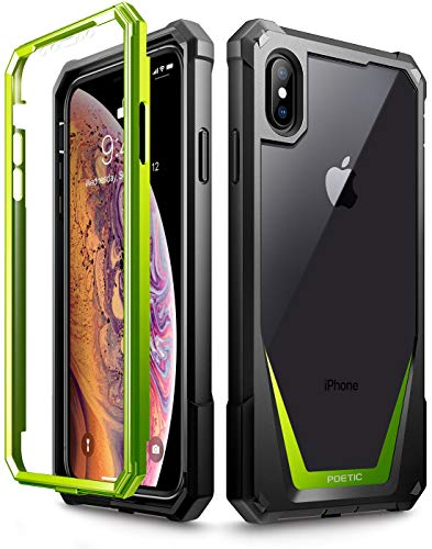iPhone Xs Max Case, Poetic Guardian [Scratch Resistant Back] Full-Body Rugged Clear Hybrid Bumper Case with Built-in-Screen Protector for Apple iPhone Xs Max 6.5 OLED Display - Green