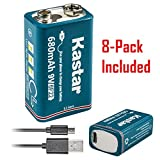 Kastar 8 Pack Micro USB Rechargeable Li-ion Polymer 9V Battery LI9V Works with Toys, Clock, Multimeter, Digital Camera and Game Controller as 6F22