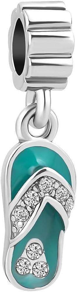 Uniqueen - Colgante con forma de chancla de playa, joyería de cristal con piedra de nacimiento para pulseras Pandora, Troll, Chamilia