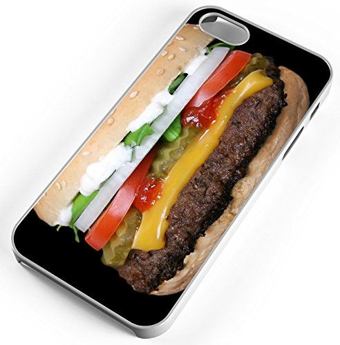 iPhone 8 Plus 8+ Case Barbeque Bib Beauty Beef Bread Hamburger Bun Customizable by TYD Designs in White Rubber -