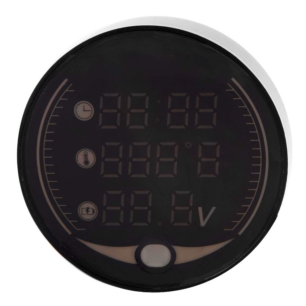 Outbit Thermometer 3-in-1-Motorrad Elektronisches Digital-Thermometer Voltmeter Zeituhr Temperaturanzeige