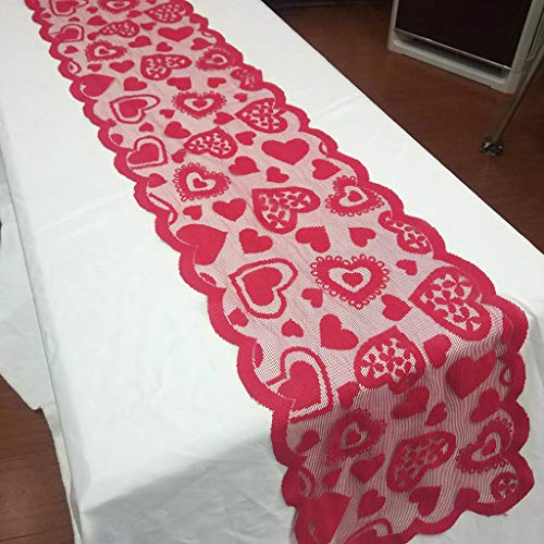 Beautiful Lace Fabric Tablecloth Casual Party Shop Party Table Cloth Decor Accessories (Red) by Sexyp-dress (Image #4)