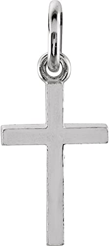 Jewels By Lux 925 Sterling Silver Mens Womens Polished Finish Cross Religious Charm Pendant