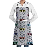Kitchen Bib Apron Neck Waist Tie Center Kangaroo Pocket Cute Dogs Sunglasses Waterproof