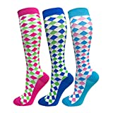 Compression Socks For Men & Women - 3/6 Pairs - Best for Running,Medical,Sports,Flight Travel, Pregnancy - 20-25mmHg (Large/X-Large, Diamond lattice(3 Pairs))