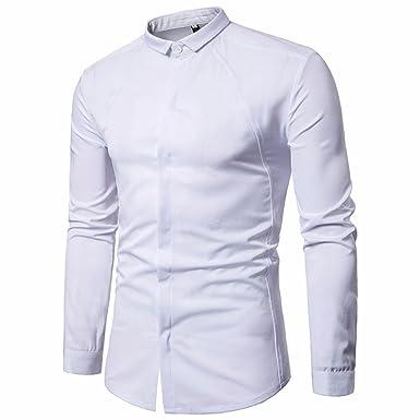 09b404a9726ff Longra Chemises Casual Homme Garçon Slim Fit Col Officier Manches Longues  T-Shirt Homme Tee