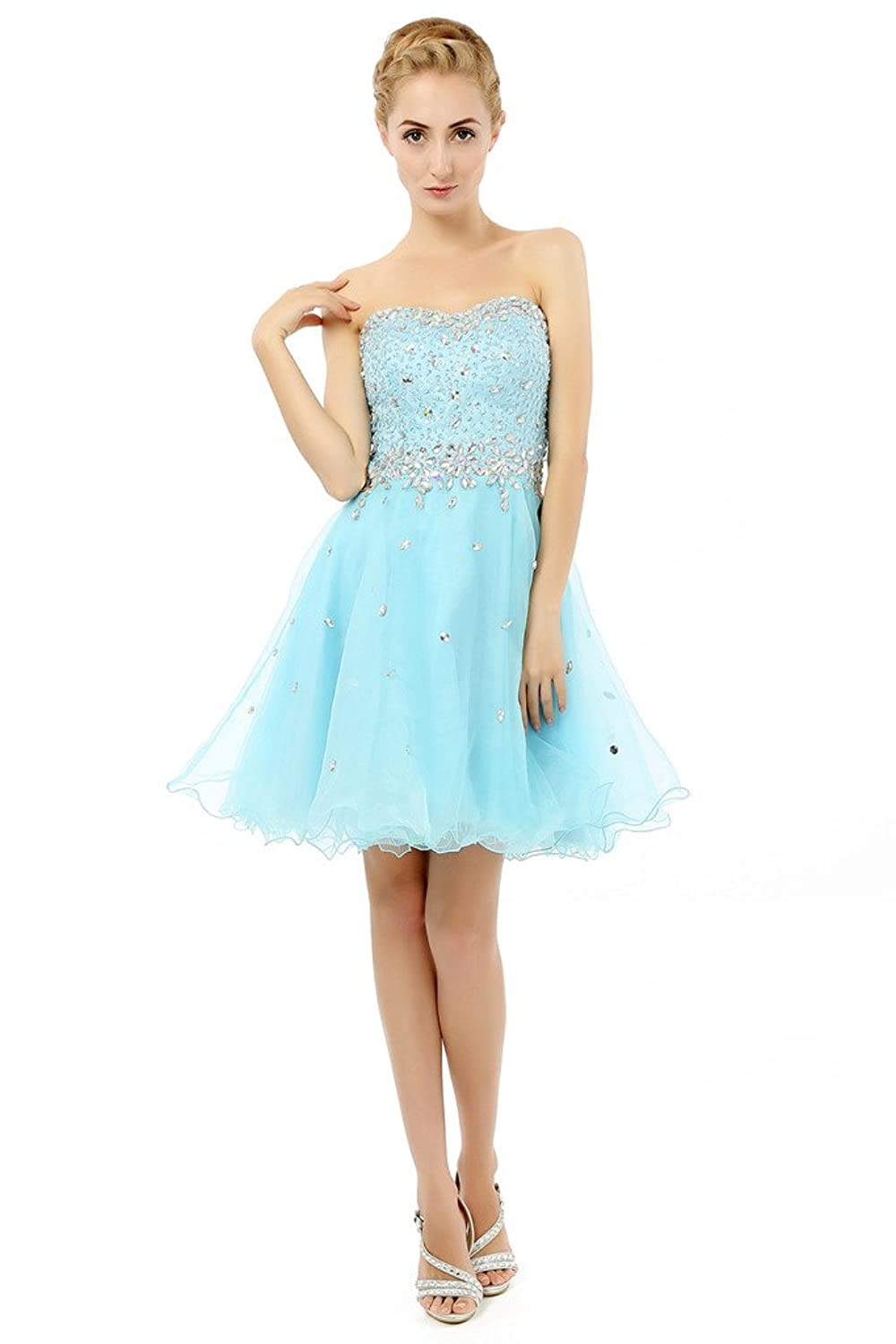 HONGFUYU Girl's Strapless Beaded Bodice Tulle Short Party Homecoming Cocktail Prom Dress