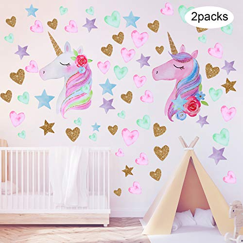 2 Pieces Unicorn Wall Decals Decor Colorful Unicorn Wall Stickers with Heart Flower for Kids Bedroom, Nursery Room, Living Room Decor (Color Set 2)