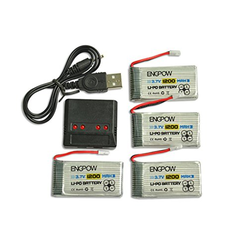 Emubody 4PC 3.7V 1200mAh Battery + 4 in 1 Charger For Syma X5 X5C X5SC RC Quadcopter