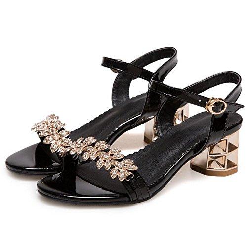 Black Heel Toe Sandals Women Mid Open TAOFFEN qfBRYB