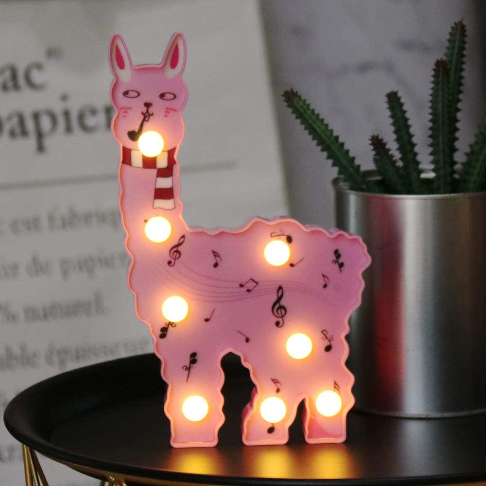 Battery Operated Warm Light Home Decor for Pregnant woman nursery ltd JH-YT-06 kids pink with heart glasses Llama Marquee Signs baby shower Light Up Vicuna New LED Painted Alpaca Night Light Linhai Juhui Lighting Co living room