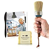 #6: Large 3-in-1 Chalk Paint Brush Set Wide 2-inch Round Natural Boar Hair Bristles for Furniture, Milk Paint, Clear Wax, Stencil, Stamping, with Brush Cleaning Soap by Vintage Tonality