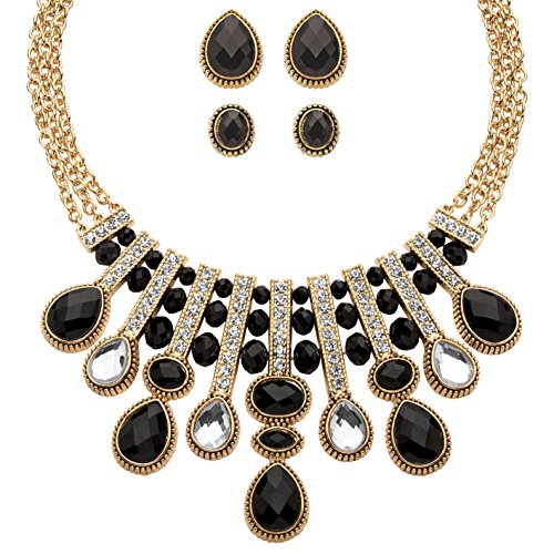 Palm Beach Jewelry Gold Tone Button Earrings and Necklace Set, Pear Cut Black and White Crystals, 18