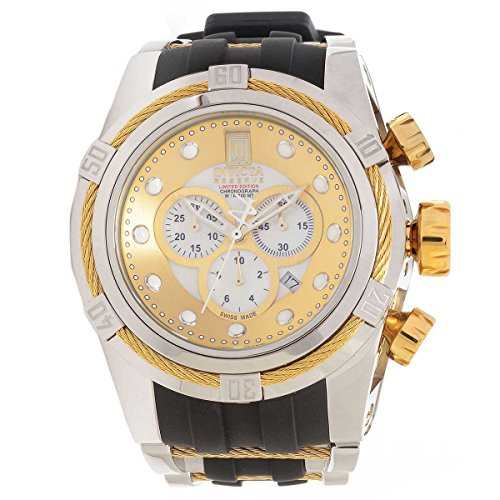 Dial Black Chronograph Mop - Invicta Bolt Jason Taylor Chronograph Gold and Silver Dial Stainless Steel Black Polyurethane Mens Watch 14953