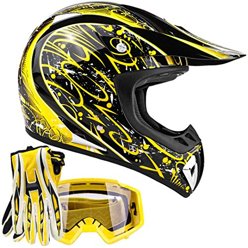 Typhoon Adult ATV MX Helmet Goggles Gloves Gear Combo Yellow Splatter (Large) (Rockstar Dirt Bike Helmets)