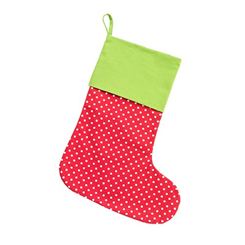 - 16.5 inch Merry Pin Dot Red and Lime Green All Cotton Christmas Stocking