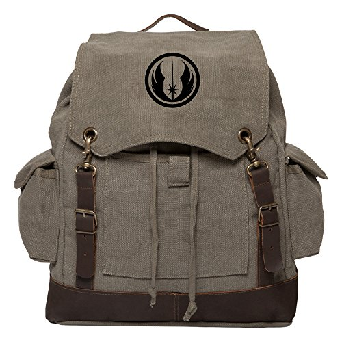 Jedi Order Logo Vintage Canvas Rucksack Backpack with Leather Straps, Olive & Bk