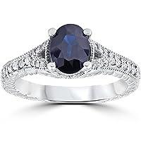 2ct Vintage Diamond Blue Sapphire Engagement Ring 14K White Gold