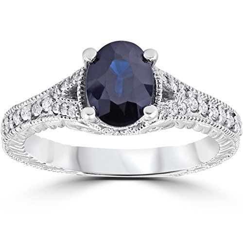 2ct Vintage Diamond Black Sapphire Engagement Ring 14K White Gold - Size 7