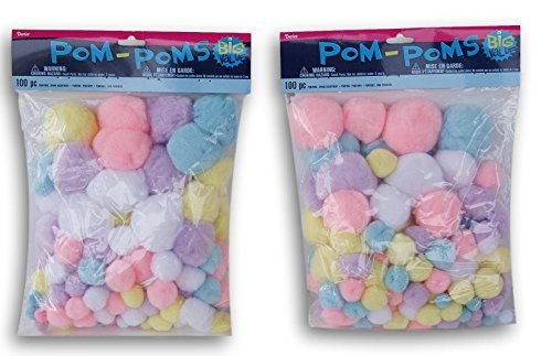 (Craft Pom Pom Balls 200 Count Pastel-Assorted Sizes Up to 2 Inches (Blue, Pink, Lavender,White, Yellow))