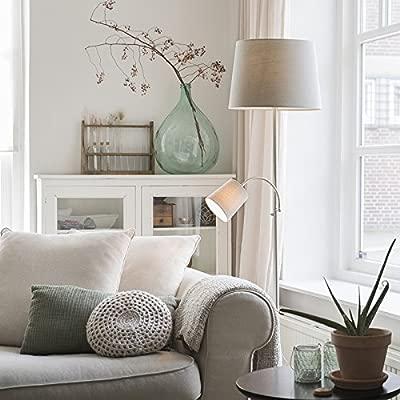 QAZQA Clásico/Antiguo Lámpara de pie clásica acero con pantalla gris y brazo lectura- RETRO Textil/Acero Otros Adecuado para LED Max. 1 x Watt