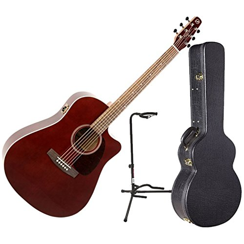Seagull Entourage Burgundy CW GT QI Acoustic Electric Guitar w/Hardshell Case and Guitar Stand