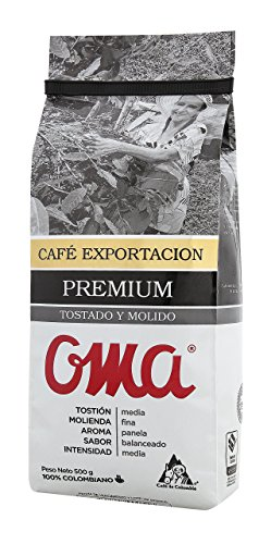 Oma cafe Export Line Premium Roast and Ground Colombian Coffee OMA Tosdado y Molido, 500G