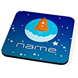 Space Rocket Personalised Childrens Name Drinks Coaster by KICO