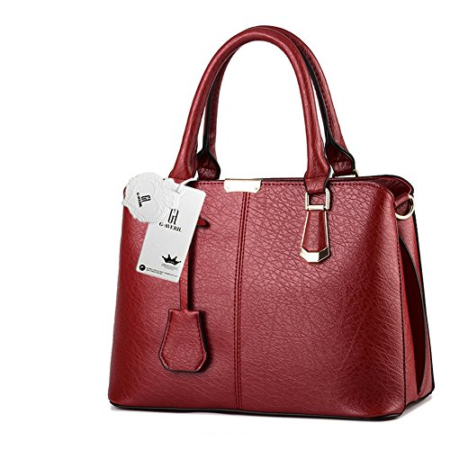 Look Handle Fashion Wine Women AVERIL Colour red Handbag Shoulder Leather Top 2018 New 10 G zYCwT
