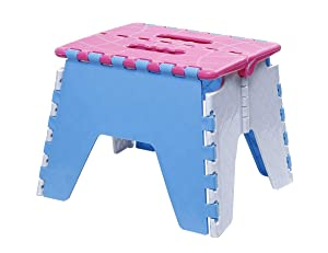 SHAFIRE Folding Plastic Stool Foldable Step Stool for Kids Adults Kitchen Garden Bathroom Stepping Stool Holds up to 150 KG (Random Colour)