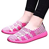 Clearance Sale Shoes For Women ,Farjing Fashion Women Flats Shoes Woven Shoes Casual Running Shoes Non Slip Shoes (US:6,Hot Pink)
