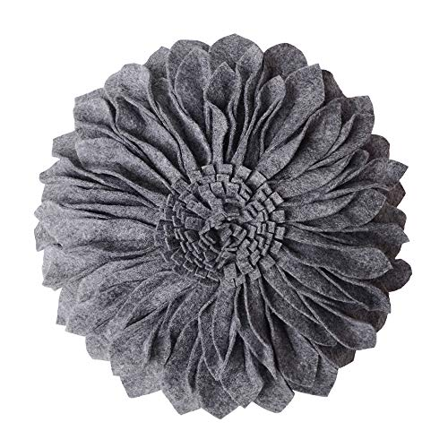 JWH 3D Sunflower Accent Pillow Decorative Cushion Artwork Home Bed Living Room Gift 12 Inch Gray ()