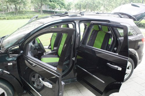 OxGord 17pc Leatherette Seat Cover Set, Airbag Compatible, for CHEVROLET SONIC, Green & Black