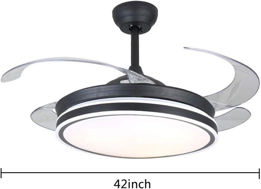 WUPYI2018 - Ventilador de techo moderno con aspas retráctiles con luz y mando a distancia, silencioso 42 pulgadas, ventilador de techo moderno para dormitorio, salón y oficina: Amazon.es: Iluminación