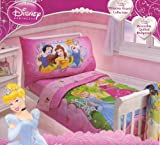"Disney Princess 4 Piece Toddler Bedding Set ""Princess Hearts"" Collection"