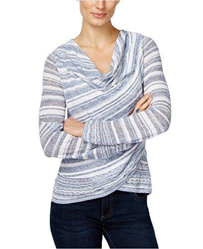 INC Womens Cowl-Neck Striped Sweater Blue L Cowl Neck Striped Sweater
