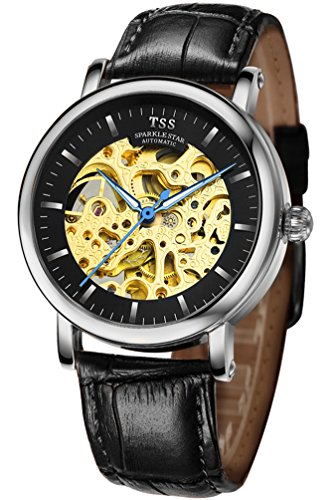 TSS Men's T5018TC2 Automatic Skeleton Watch with Leather - Jewel Automatic 21