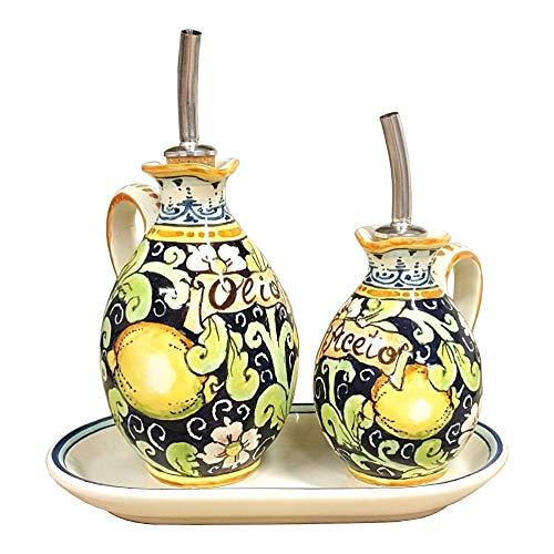 RINI - Italian Ceramic Set Cruets Oil And Vinegar + Small Tray Decorated Lemons Art Pottery Hand Painted Made in ITALY Tuscan ()