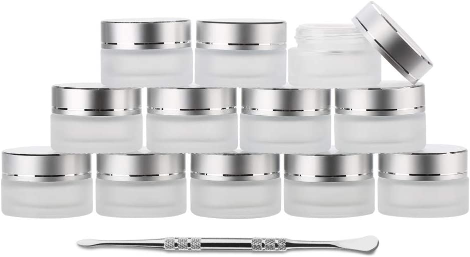 Coolpen UV Protection Small Glass Jars With Lids Reusable 5ml 10ml 20ml Black Food Glass Bottle Mini Airtight Container For Herb Oil Salve Cream leaf Storage 1 Wax Carving Tools (Frosted, 20ml)