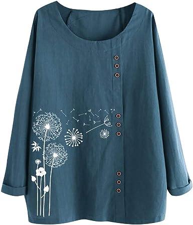 Vectry Camisa Mujer Tallas Grandes Mujer Manga Larga Algodón Lino O-Cuello Estampado Blusa Top Camiseta Camisa Otoño Verano Playa Y Fiesta: Amazon.es: Ropa y accesorios