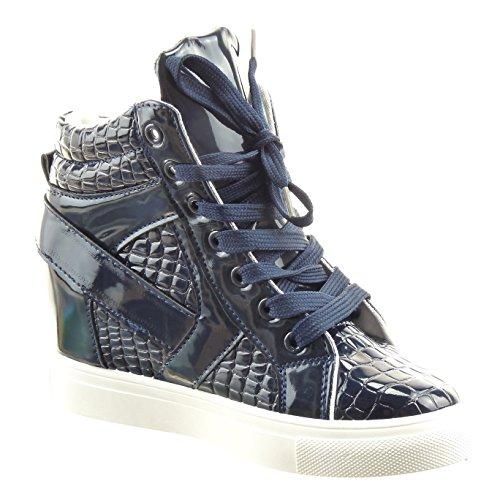 Sopily - Scarpe da Moda alti alla caviglia donna pelle di serpente fibbia verniciato Tacco zeppa piattaforma 7 CM - Blu