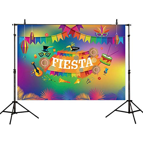 Allenjoy 7x5ft Mardi Gras Theme Backdrop Carnival Fiesta Party Supplies Photography Background Party Pictures Studio Props Colorful Flag Birthday Celebrations Photo Banner Decorations -