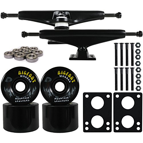 Longboard Skateboard Trucks Combo Set 76mm Bigfoot Crusher Wheels With  Black Trucks, Bearings, And Hardware Package (76mm Black Wheels, 7.0  (9.63