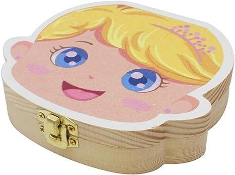 Meltset - Cajas para guardar los dientes de leche, cajas para guardar los dientes perdidos de los niños, cajas de madera coloridas con dientes molares (inglesa) dorado dorado: Amazon.es: Bebé