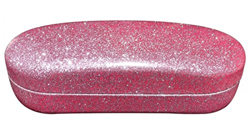 O'Meye Hard Shell Eyeglass & Sunglasses Case 3 Piece Set for Men & Women - Dazzling Glitter (MS87 Pink -