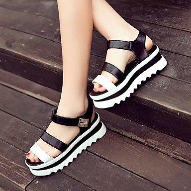RUGAI-UE Las mujeres sandalias Tacones zapatos casual PU,Blanca,US5 / UE35 / UK3 / CN34 Black