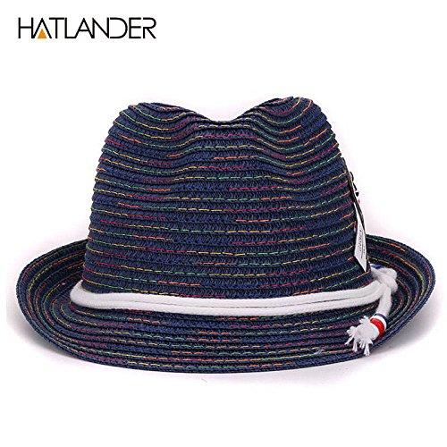 Lavenz Kids sun hats girls boys jazz trilby caps toddler summer hat floppy panama hat children solid fedora beach hat