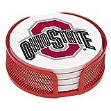 Thirstystone VOHST-HA24 Stoneware Drink Coaster Set with Holder, Ohio State University